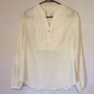 Chico's Size Small Cream Long Sleeve Blouse